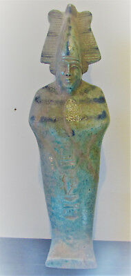Very Rare Egyptian Glazed Faience Statuette Of Osiris Beautiful Piece