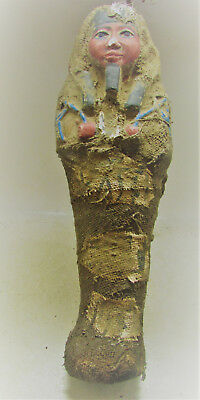 Beautiful Ancient Egyptian Glazed Faience Ushabti Shabti Linen Cloth Wrapping