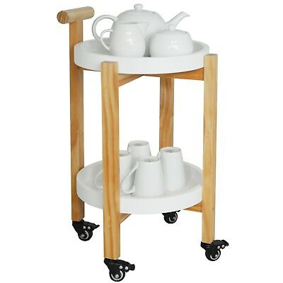 Wood Drinks / Tea Trolley Table with 2 Removable Trays - White / Natural KI10021