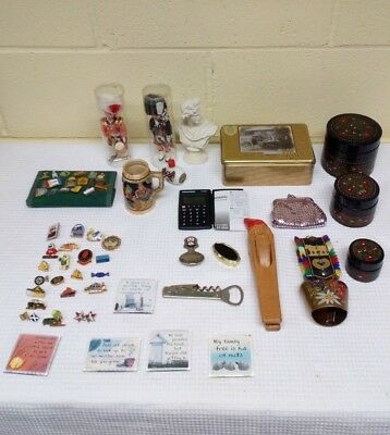 Job Lot of Quirky Vintage & Collectable Items, Pin Badges, Trinket Boxes, Etc