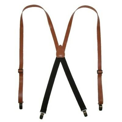 New CTM Leather Clip-End 3/4 Inch Suspenders