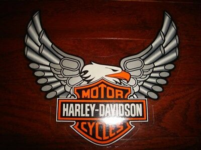 Harley Davidson Vintage Large Silver Eagle Pipe Decal (Inside)New Wow!