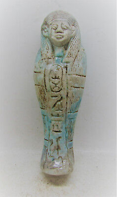 Circa 664-332Bc Ancient Egyptian Ushabti Shabti With Hieroglyphic