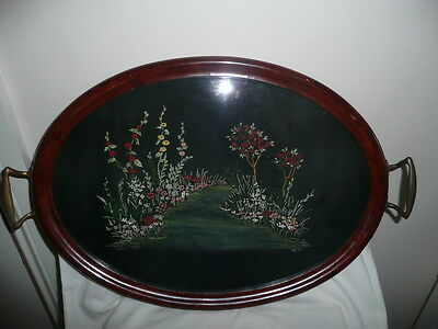 Antique Serving Tray,Metal Handles&Legs,Glass Cover&Embroidery Underneath52x34cm