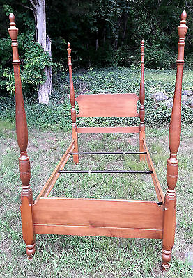 NH Maple Wood Twin 4 Post Bed with Canopy frame