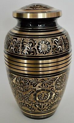 TOP QUALITY BRASS! Adult Cremation Urn for Ashes - Elegant  Black & Gold