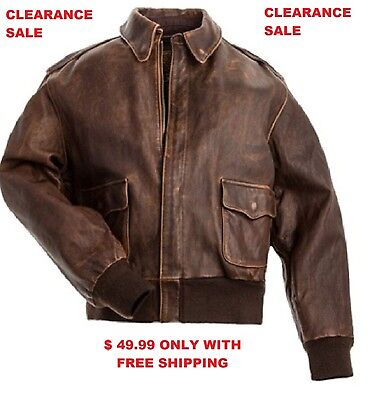 Men's Classic A-2 Aviator Bomber Real Leather Flight Jacket (CLEARANCE SALE)