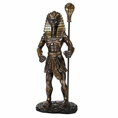 """Ancient Egyptian 11.75"""" Tall King Tut With the King Cobra Sceptre Figurine (Brz)"""