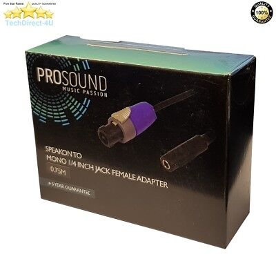 ProSound Speakon Male To Mono 1/4 Inch Female Jack Cable 0.75 Meter RRP £19.99