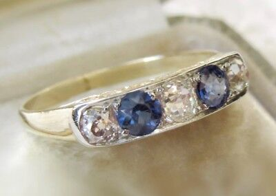 Art Deco Old Mine Cut Diamond & Sapphire Five Stone Ring (VIDEO VIEW)