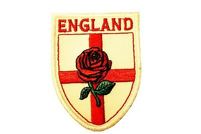 White Backgr ENGLAND Country Flag Logo With RED ROSE Iron-On PATCH CREST BADGE