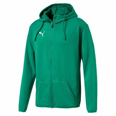 Puma Kids Sport Football Soccer Hooded Jacket Long Sleeve Full Zip Track Top Gre