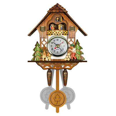 Antique Wooden Cuckoo Wall Clock Bird Time Bell Auto Swing Pendulum Alarm Watch