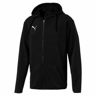 Puma Kids Sport Football Soccer Hooded Jacket Long Sleeve Full Zip Track Top Bla