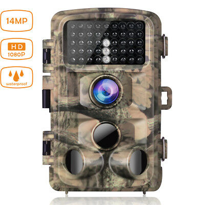 Trail Game Camera 14MP FHD 1080P Waterproof Hunting Scouting Cam 2.4 LCD IR LEDs
