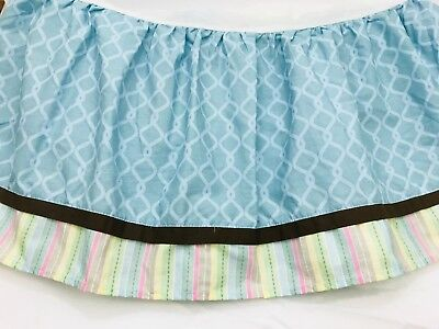 CoCalo Crib Skirt Ruffle Nursery Once Upon a Time Blue Brown Pink Circles Floral