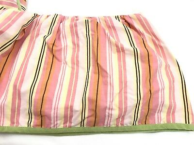 CoCalo Crib Skirt Ruffle Nursery Pink Stripes Brown Green Bedding Baby Girl's