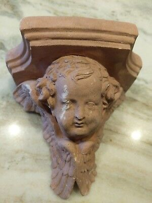 Vintage Terra-cotta Cherub Wall Shelf Angel with Wings