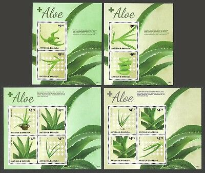Antigua Barbuda 2014 Flowers Plants Aloe Vera Aloes Set Of 4 M/sheets Mnh