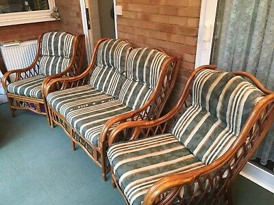 3 Piece Cane Conservatory Suite( 2 Seater Settee, 2 Single Chairs)