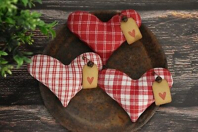 Primitive Heart Bowl Fillers ~ Valentines Day ~ Homespun Fabric Farmhouse Ornies