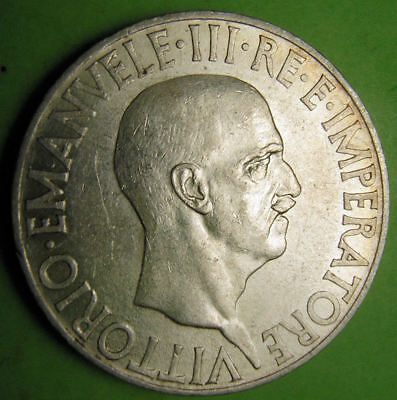 Italy silver coin 1936 XIV KM 80, Catalogs $250 in Uncirculated, $100 XF.