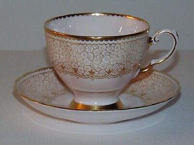 Vintage Antique Tuscan Bone China Teacup & Saucer Set Pink Heavy Thick Gold