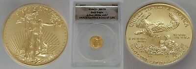 ANACS MS70 2017 1/10 oz $5 American Gold Eagle FIRST STRIKE #143 of 199 038