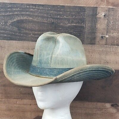 Vintage Worn LEVI STRAUSS 1970's Denim Jean Cowboy Hat off a Texas Ranch 7 1/8