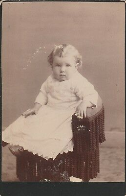 Cabinet Card Toddler,blonde Curls White Dress, Great Ad Back,w. Kay,jackson,cal
