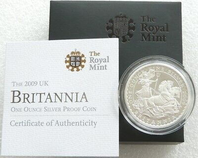 2009 Royal Mint British Britannia £2 Two Pound Silver Proof 1oz Coin Box Coa