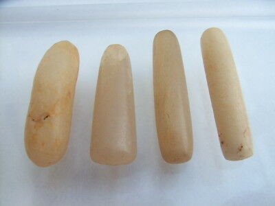 4 Ancient Neolithic Quartz Plugs, Stone Age, VERY RARE !!
