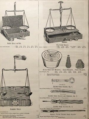 Antique 1884 Scale Print Ad Jeweler Diamond Weights Equipment Victorian