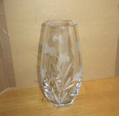 "Large 8"" Tall Heavy Etched & Cut Glass Vase Flower Arranging Table Centre Piece"