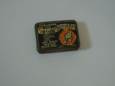 Rare Vintage Columbia Gramophone Needles Tin With Needles Blue - music HMV 10