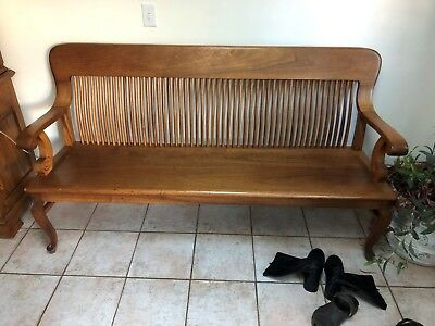 Railroad Station Antique 1900 Oak Bench