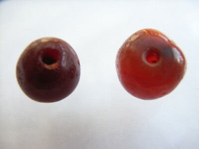 2 Ancient Neolithic Carnelian Beads, Stone Age TOP!