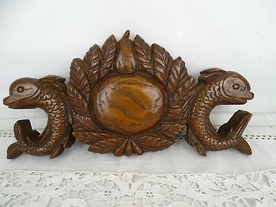 "11.5""   Antique French Hand Carved Wood Oak Pediment - Fish  19th"