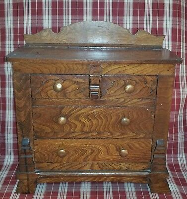 "Late 19th C. Miniature Victorian Paneled Chest of Drawers & Backsplash 14-1/4"" h"