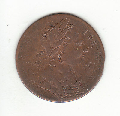 1775 George III EVASION British US Colonial Farthing Copper Coin.