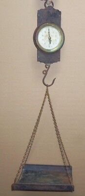 Antique Landers Frary & Clark New Britain Hanging Scale with Chain & Tray NR