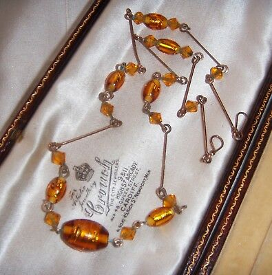 Beautiful VINTAGE JEWELLERY ART DECO GOLD Foil Glass Bead ROLLED GOLD NECKLACE