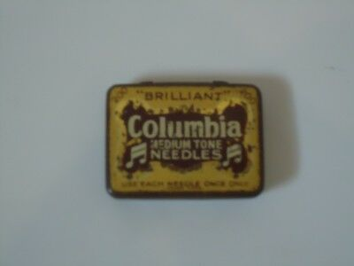 Rare Vintage Columbia Gramophone Needles Tin With Needles Brown - music HMV 13
