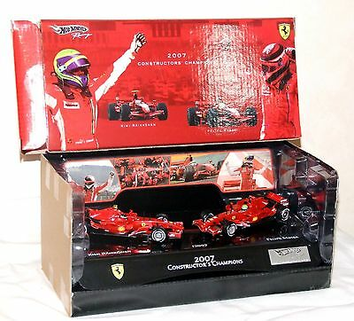 Hot Wheels 1/43 Ferrari F2007 Kimi Raikkonen Felipe Massa World Champion Set