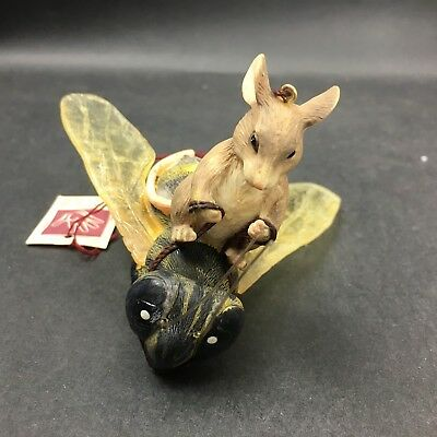 Dean Griff Silvestri Charming Tails Ornament MOUSE ON BEE 89/191 Signed