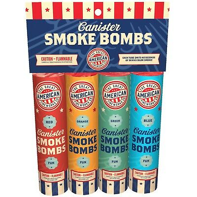 Colorful 4 pk of primary colored smoke bombs for Photography