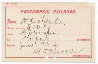 Passumpsic Railroad Trip Pass - 1886