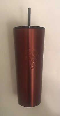 NEW 2018 STARBUCKS COLD CUP MATTE RED STAINLESS STEEL TUMBLER 24 fl oz