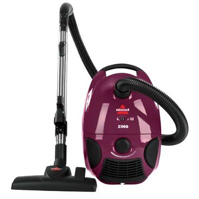 Bissell Zing Bagged Canister Vacuum, Maroon Corded w/ Rewind Compact Lightweight