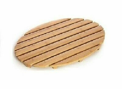 Bamboo Wood Oval Shape Wooden Bath Shower Mat Slatted Duck Board Bathroom Modern